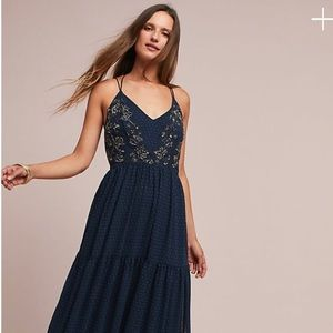 New with Tags- Navy Beaded Maxi Dress